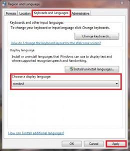 Windows 7 schimbare în limba Româna (4/4)
