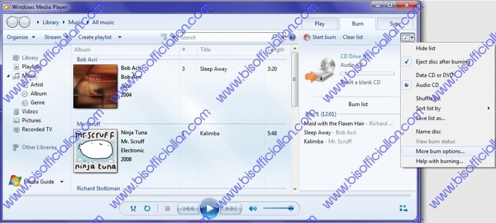 Cum se copiază un cd cu muzică, .mp3 sau track în windows media player. (6/6)