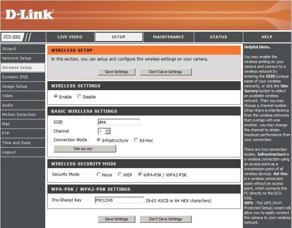 dlink-dcs-930l-network